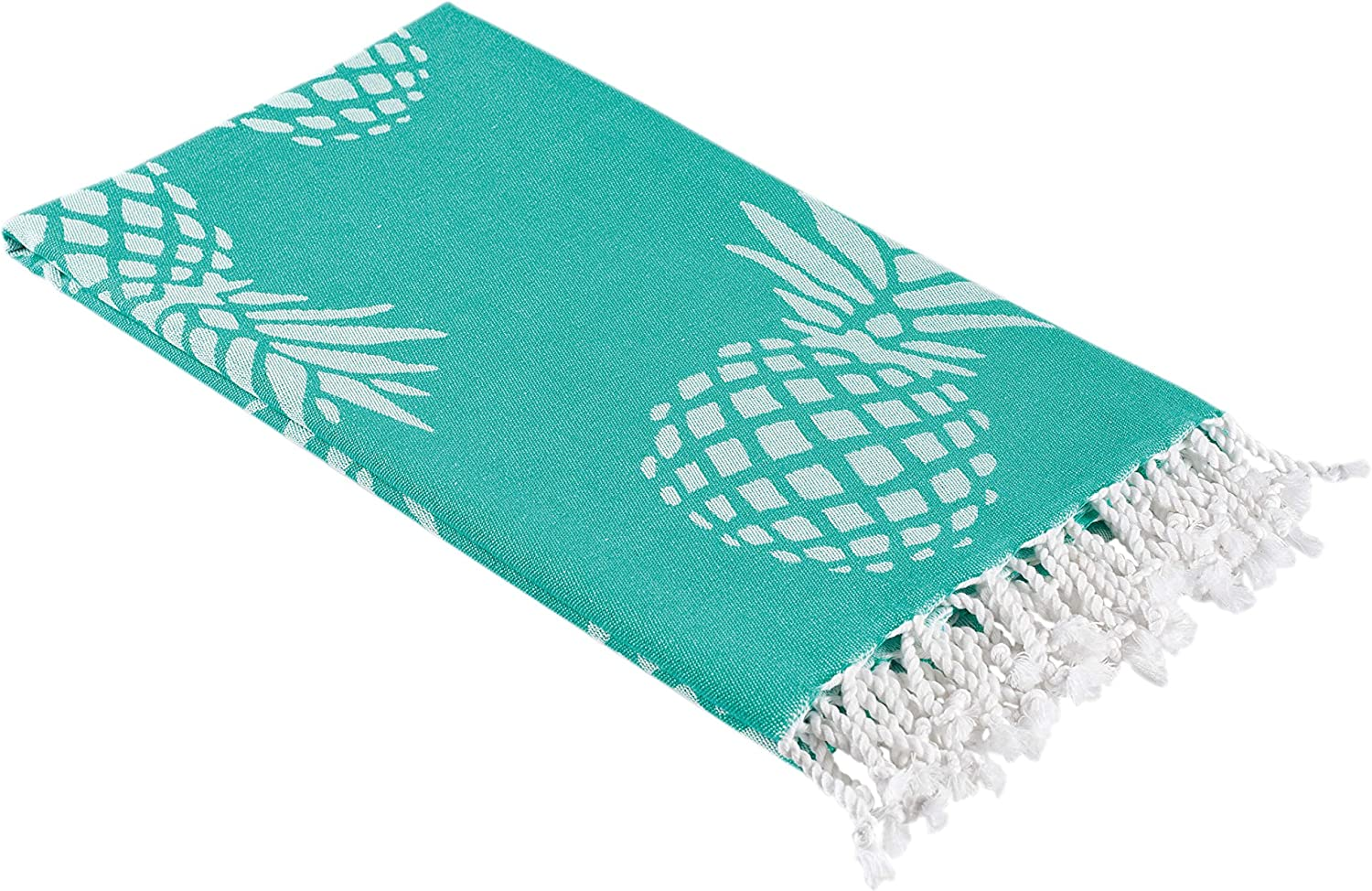 InfuseZen Pineapple Print Turkish Towel in an Extra Large Size, Thin Peshtemal Beach Towel or Bath Towel in Mint Green