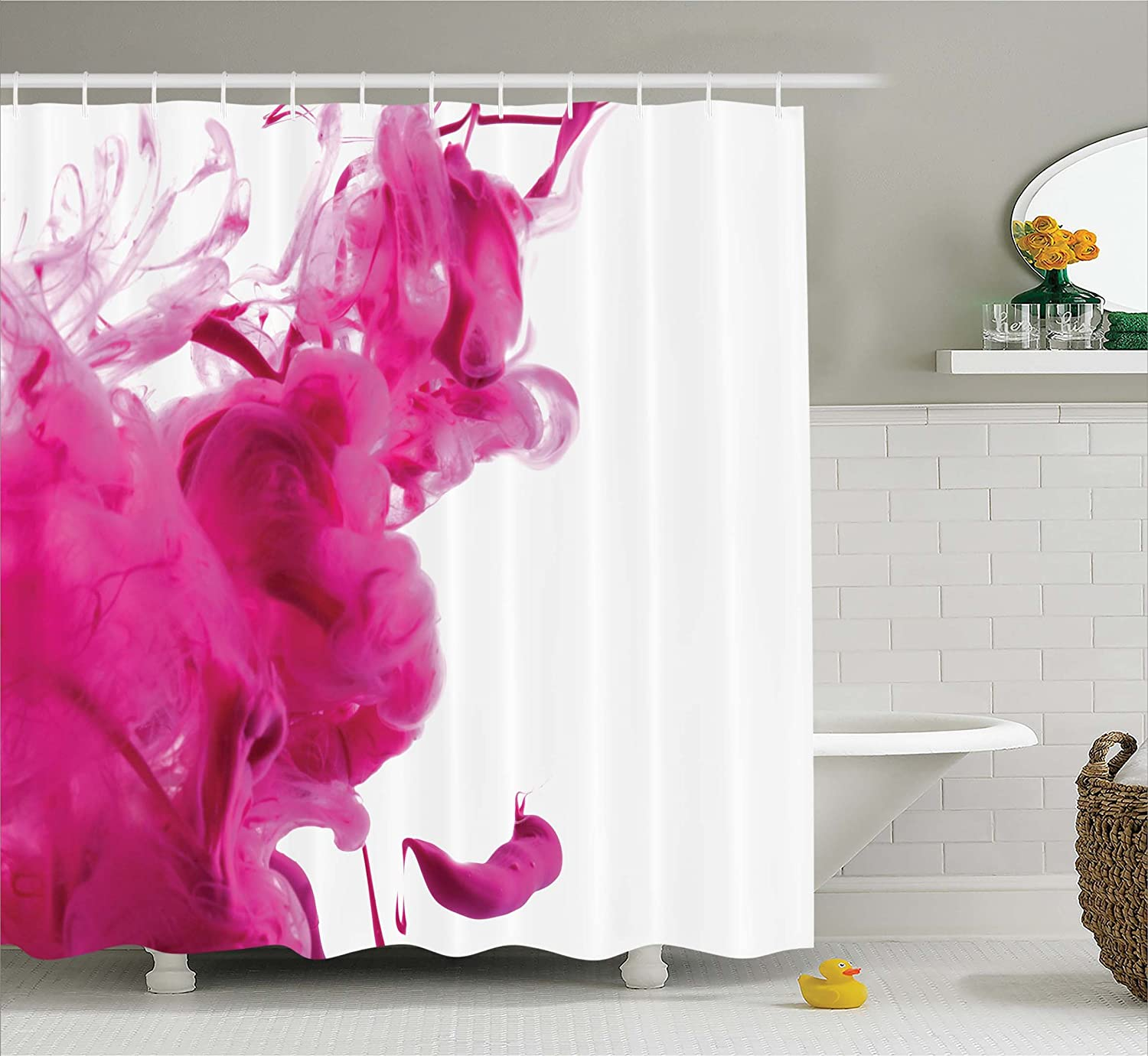 Ambesonne Magenta Decor Shower Curtain By Color Splash Pastel Colored Hazy Flame Like Watercolor Show Style Fabric Bathroom Set With Hooks