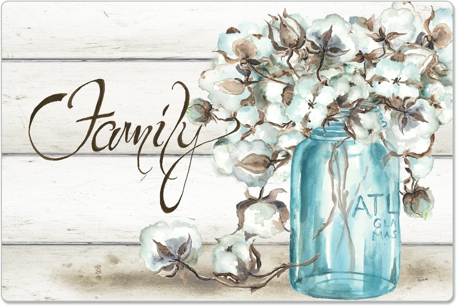 CounterArt Anti-Fatigue Comfort Floor Mat, 30 x 20 Inches, Family-Cotton Floral in Jar