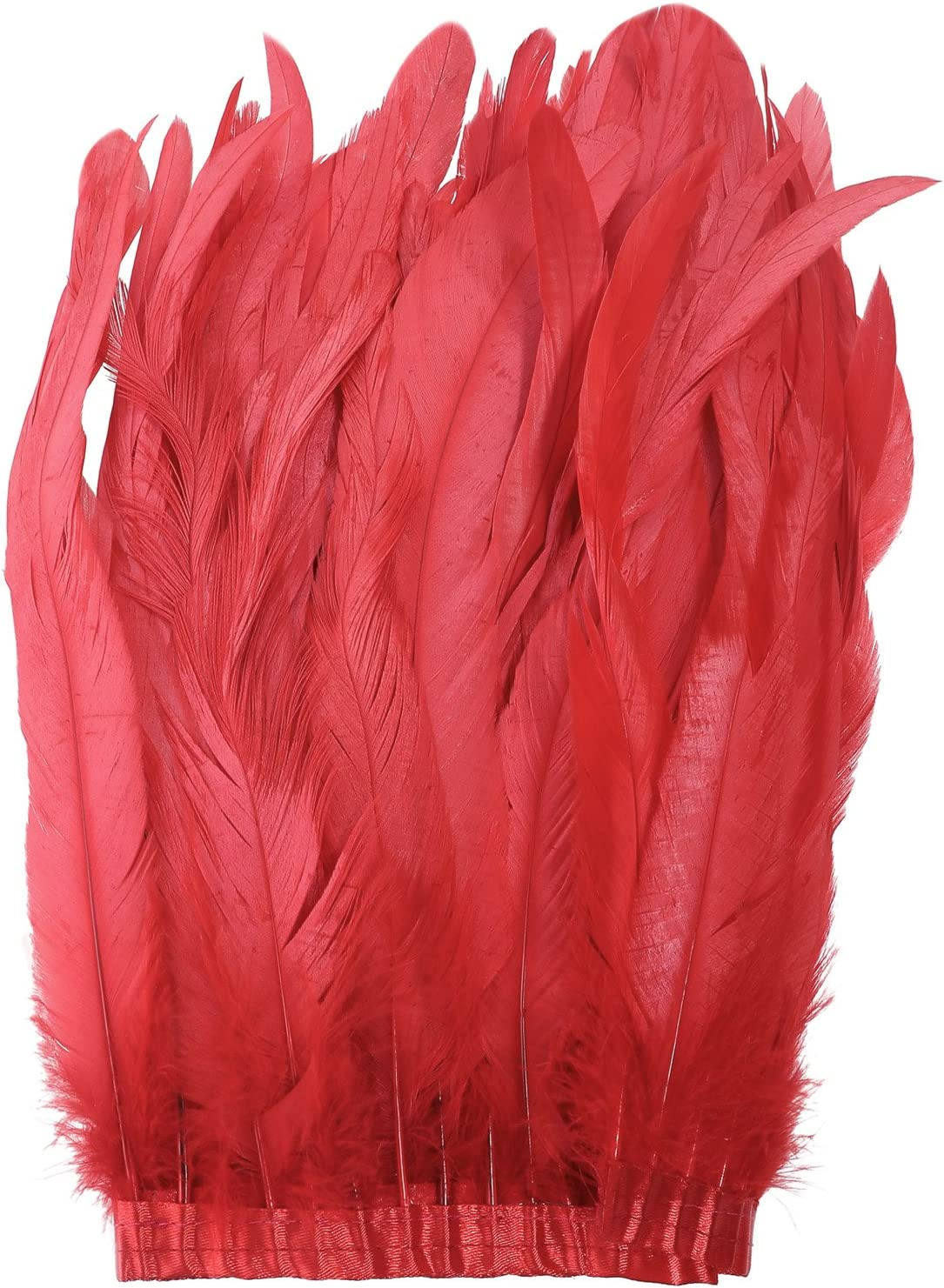Burgundy BRONZE Rooster Coque Feather Fringe Ribbon Trim DIY Price for 30cm