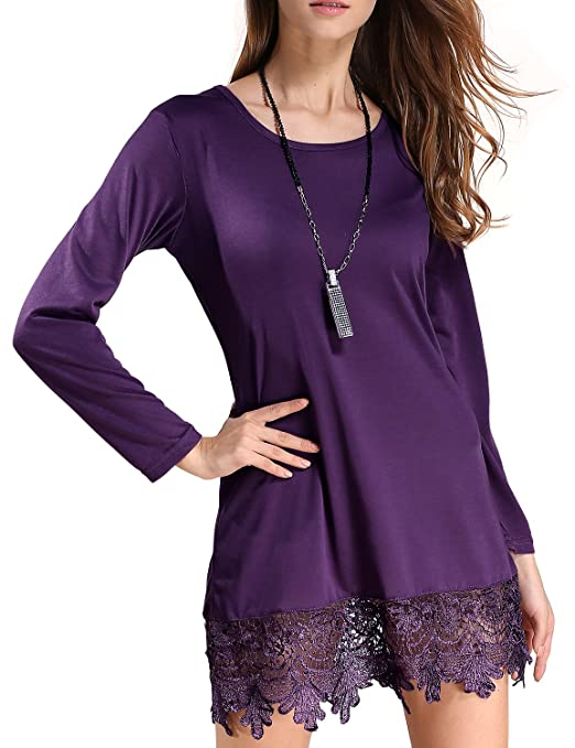 Match Women's Long Sleeve Lace Loose Stitching Trim Casual