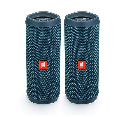JBL Flip 4 Waterproof Portable Wireless Bluetooth Speaker Bundle - (Pair)  Ocean Blue
