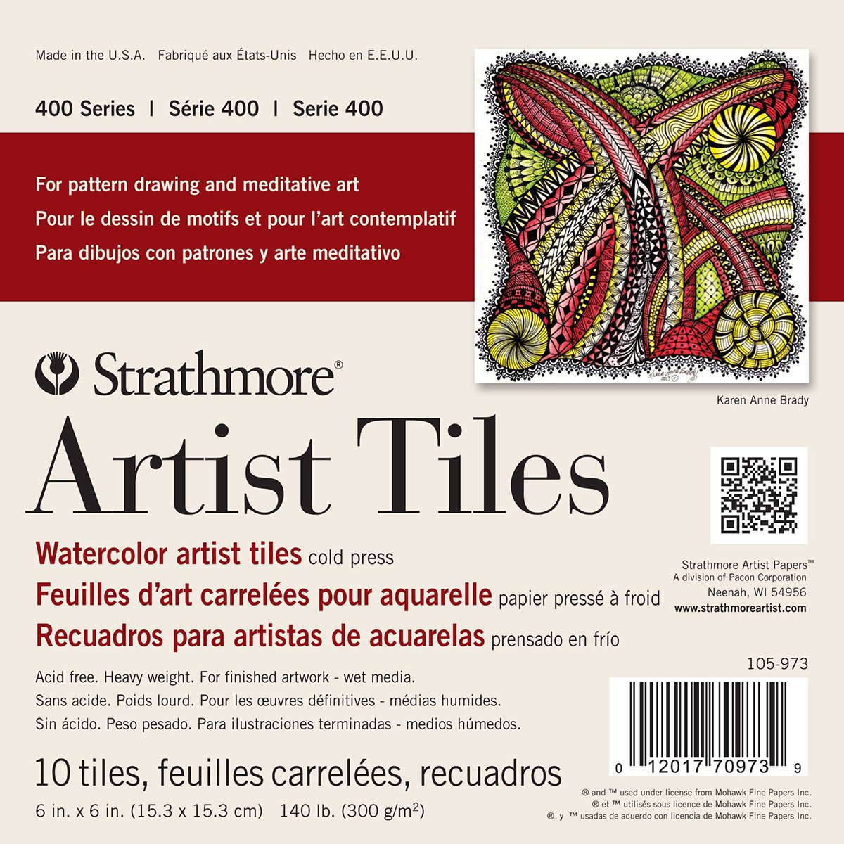 Strathmore Watercolor Artist Tiles, 6 by 6-Inch, Cold Press, 10-Pack 105-973
