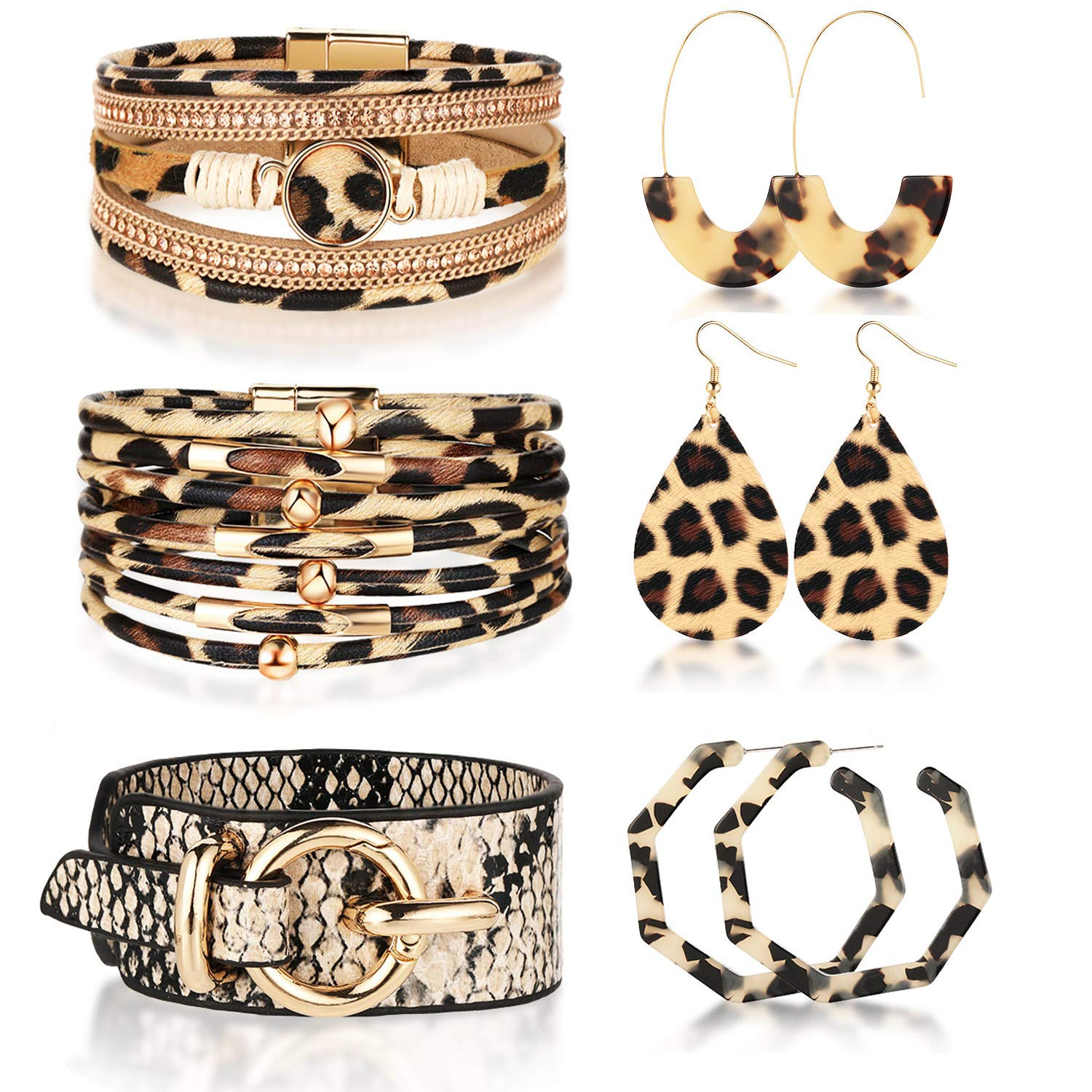 Hicarer 6 Pieces Leopard Snakeskin Print Leather Cuff Bracelets and Leopard Hoop Dangle Earring