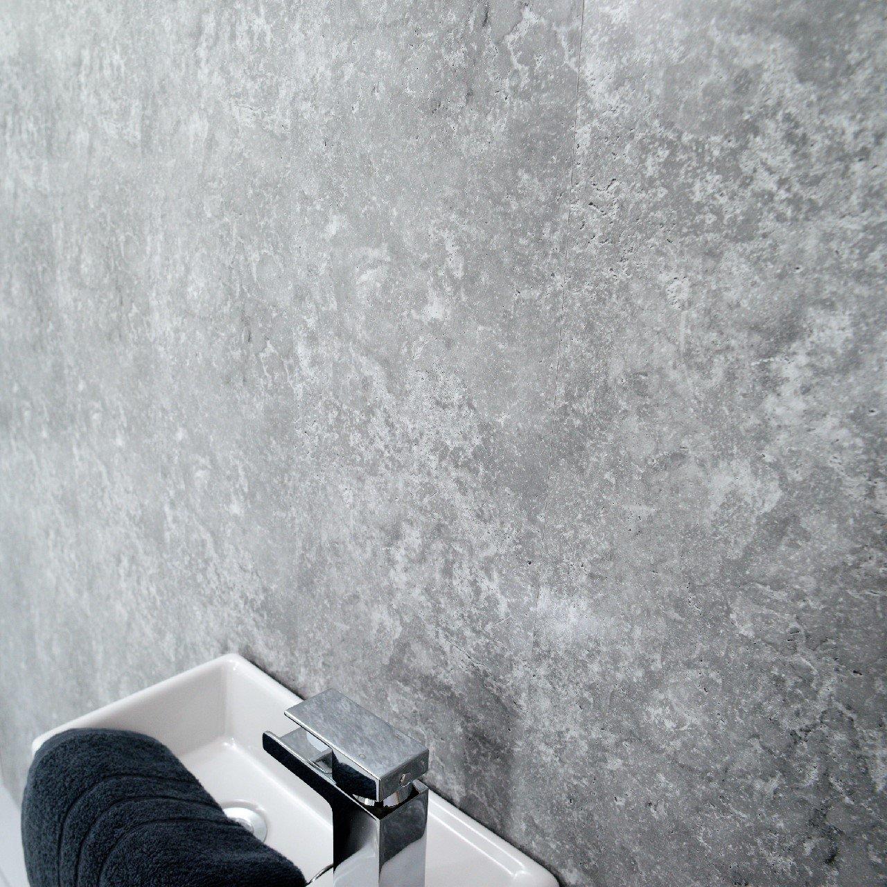 Grey Panels Splashbacks Grey Cladding-PVC-for Bathroom Shower Cladding Wall Panels Splashbacks-Ceiling Panels Splashbacks- Grey Concrete-100% Waterproof-by Claddtech (6 Panel Pack)