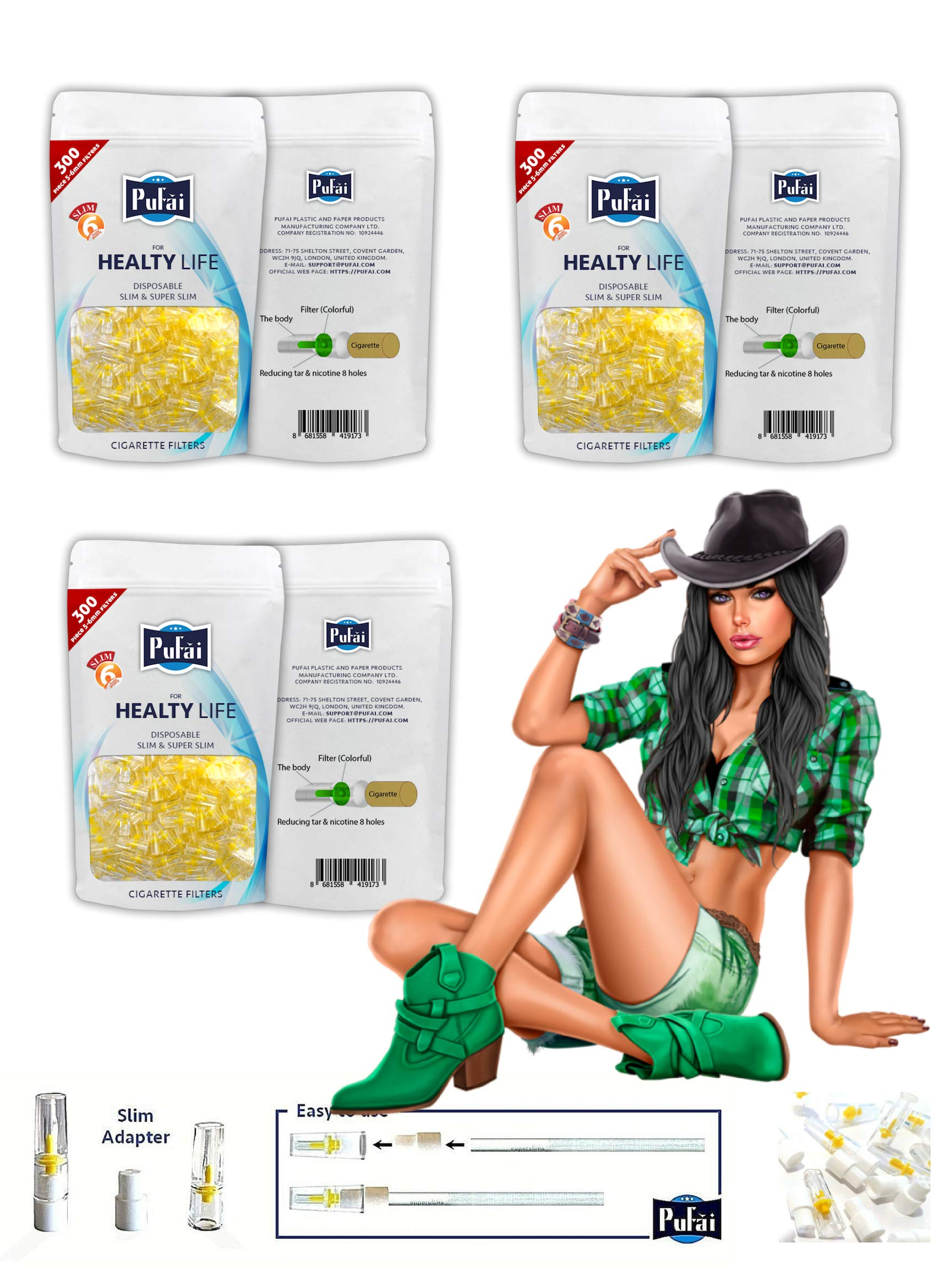 Pufai Slim Cigarette Filters Compatible 5mm 6mm 900 Piece 3 Pack