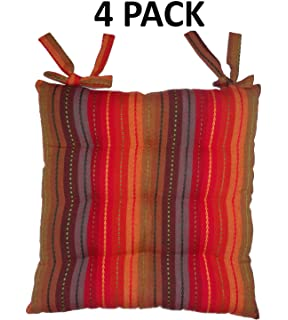 Cotton Craft   4 Pack Red Multi Salsa Stripe Dining Chair Pad Cushion With  Ties
