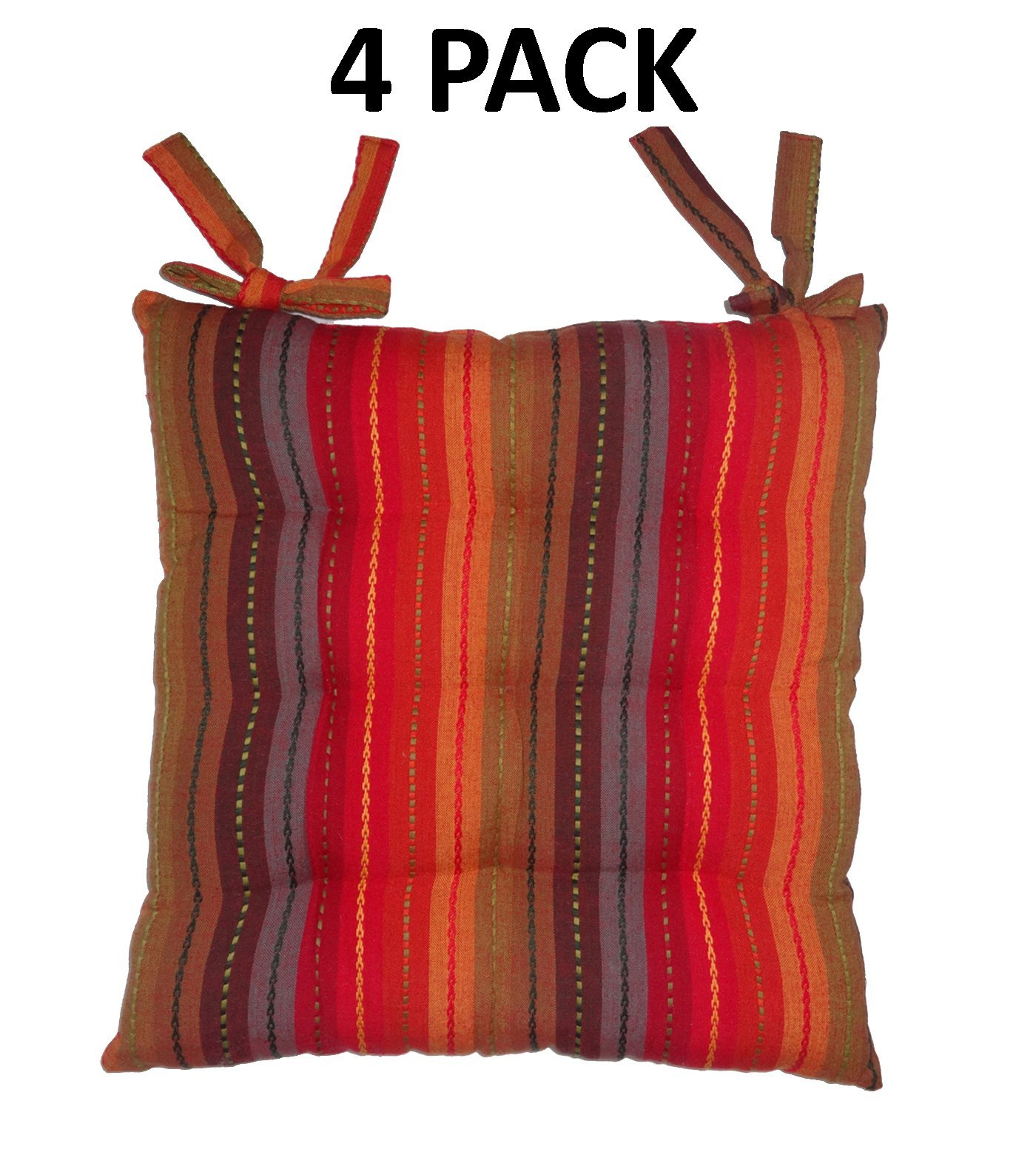 Cotton Craft - 4 Pack Red Multi Salsa Stripe Dining Chair Pad Cushion with Ties
