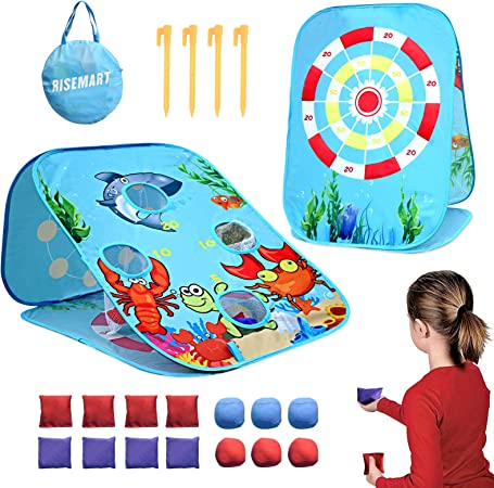 RISEMART Bean Bag Toss Game Toy for 2 3 4 5 Year Old, Indoor Outdoor Collapsible Three-Sided Game Sets for Toddlers Kids Ages 4-8, Birthday Gift for Boys Girls, Include 8-Beanbags 6-Sticky Balls