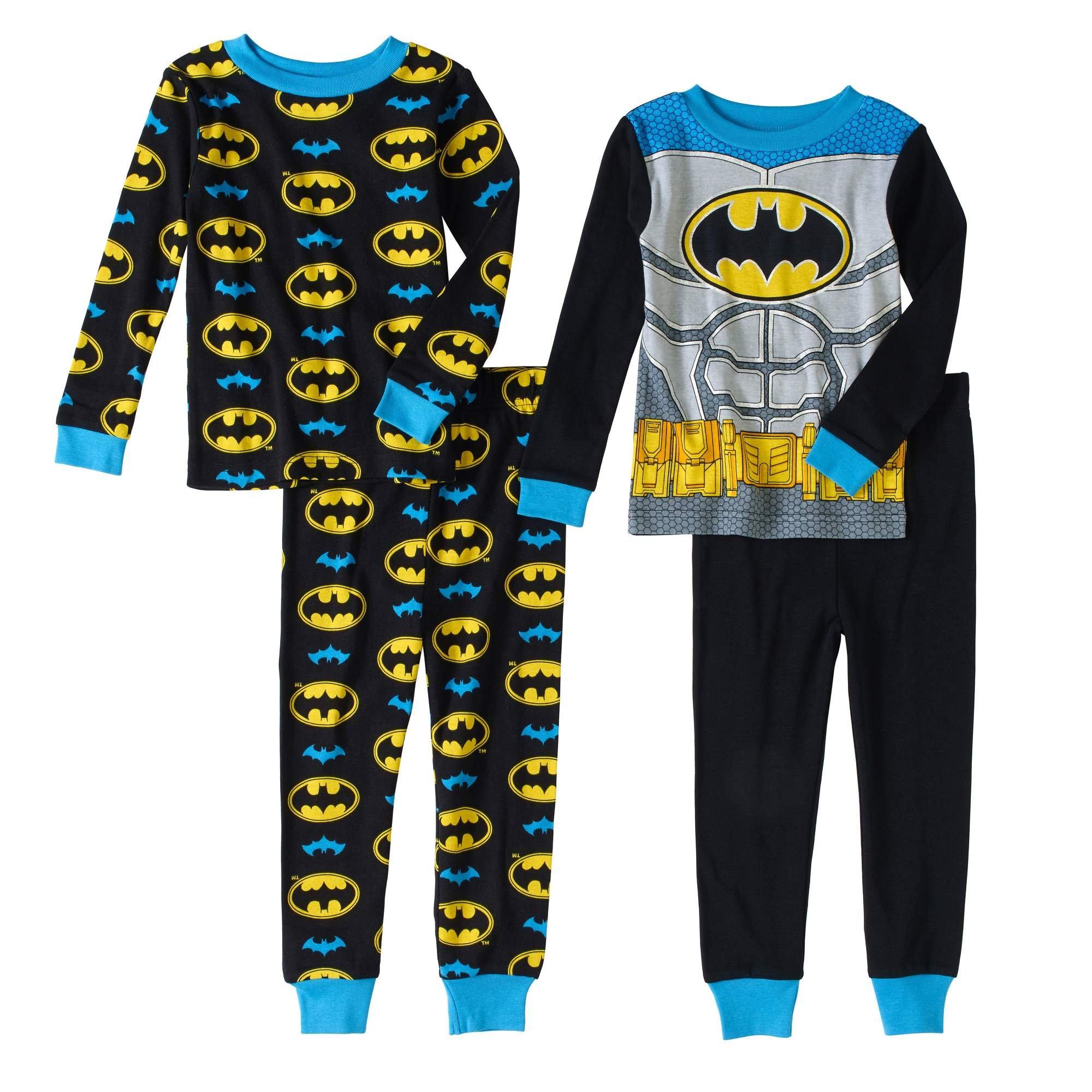 DC Comics Batman 4 PC Long Sleeve Tight Fit Cotton Pajama Set Boy Size 5T