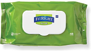 FitRight Aloe Personal Cleansing Cloth Wipes, Scented, Pack of 48, 8 x 12