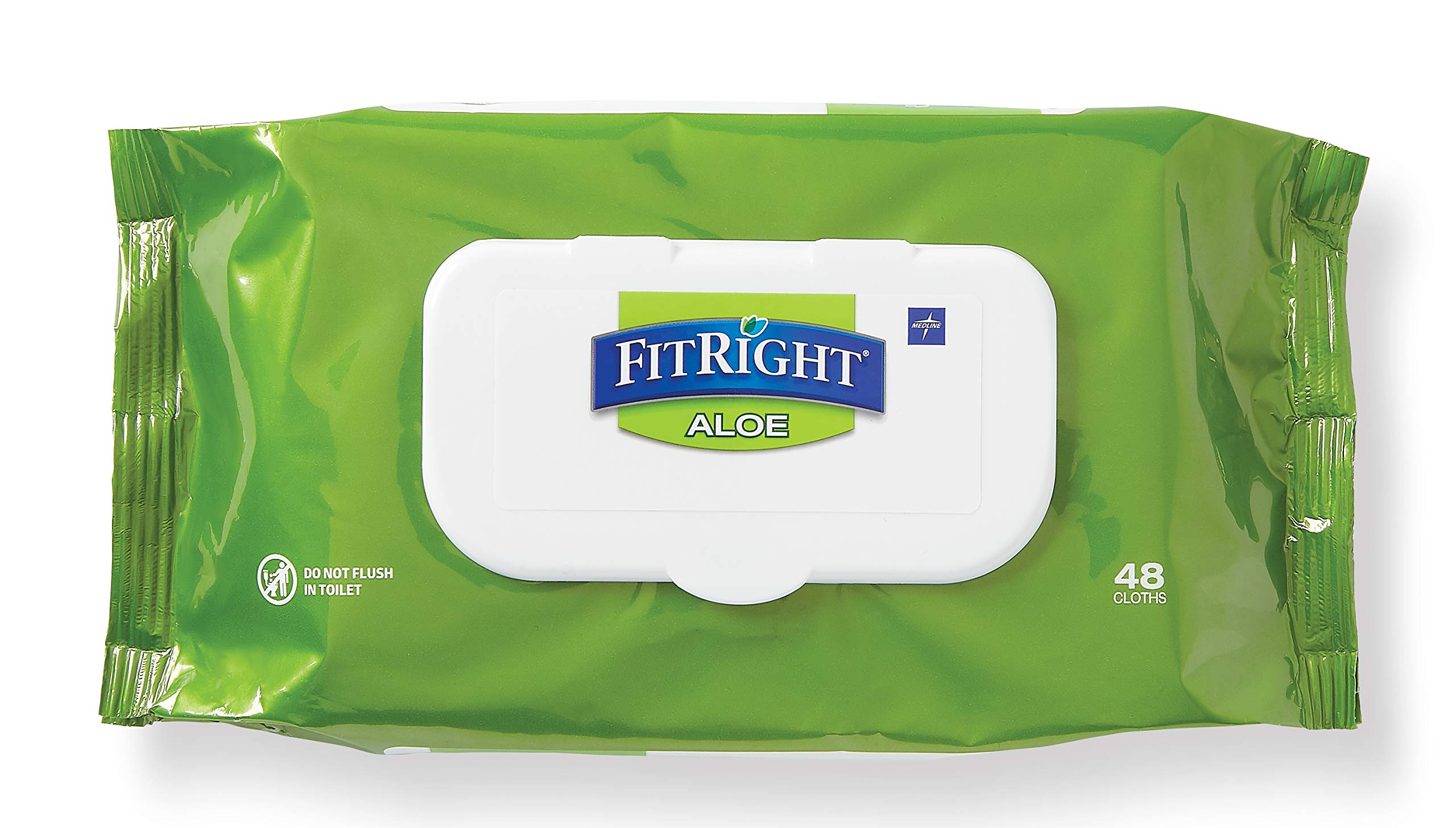 FitRight Aloe Personal Cleansing Cloth Wipes, Scented, 576 Count, 8 x 12 inch Adult Large Incontinence Wipes by Medline