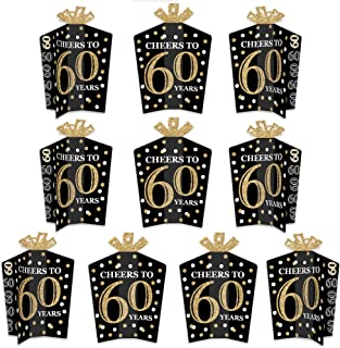 product image for Big Dot of Happiness Adult 60th Birthday - Gold - Table Decorations - Birthday Party Fold and Flare Centerpieces - 10 Count