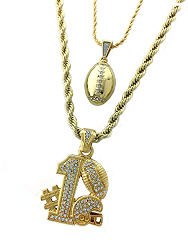 Iced out two piece chain necklace set with football football iced out two piece chain necklace set with football football pendants aloadofball Images
