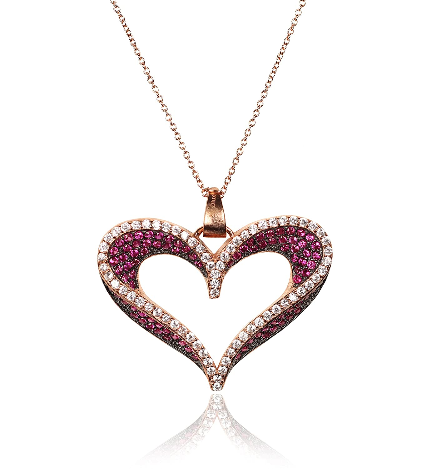 Ruby and White CZ Open Heart Pendant Classic Jewelry Sterling Silver Necklace,Rose and Black Plated Sterling Silver