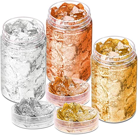 Crafts,Slime and Resin Jewelry Making 2 Bottles Metallic Foil Flakes 10 Gram Gold + Silver Colors Painting Gold Foil Flakes for Resin for Nails
