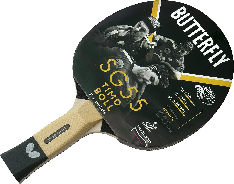 Butterfly SG55 Timo Boll SG55-Raqueta de Ping-Pong de Mesa, Aprobado por la ITTF, 1,5 mm, Goma para Pan Asia, Blanco, Talla única