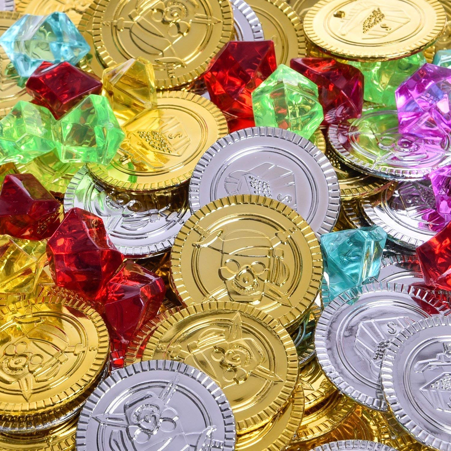 288 PCs Pirate Toys Gold Coins and Pirate Gems Jewelery Playset Goodie Bag Fillers Party Favor for Kids Easter Egg Fillers Easter Egg Stuffers Patricks Day Plastic Gold Coins 144 Coins+144 Gem St. Patrick/'s Day Plastic Gold Coins FUN LITTLE TOY St