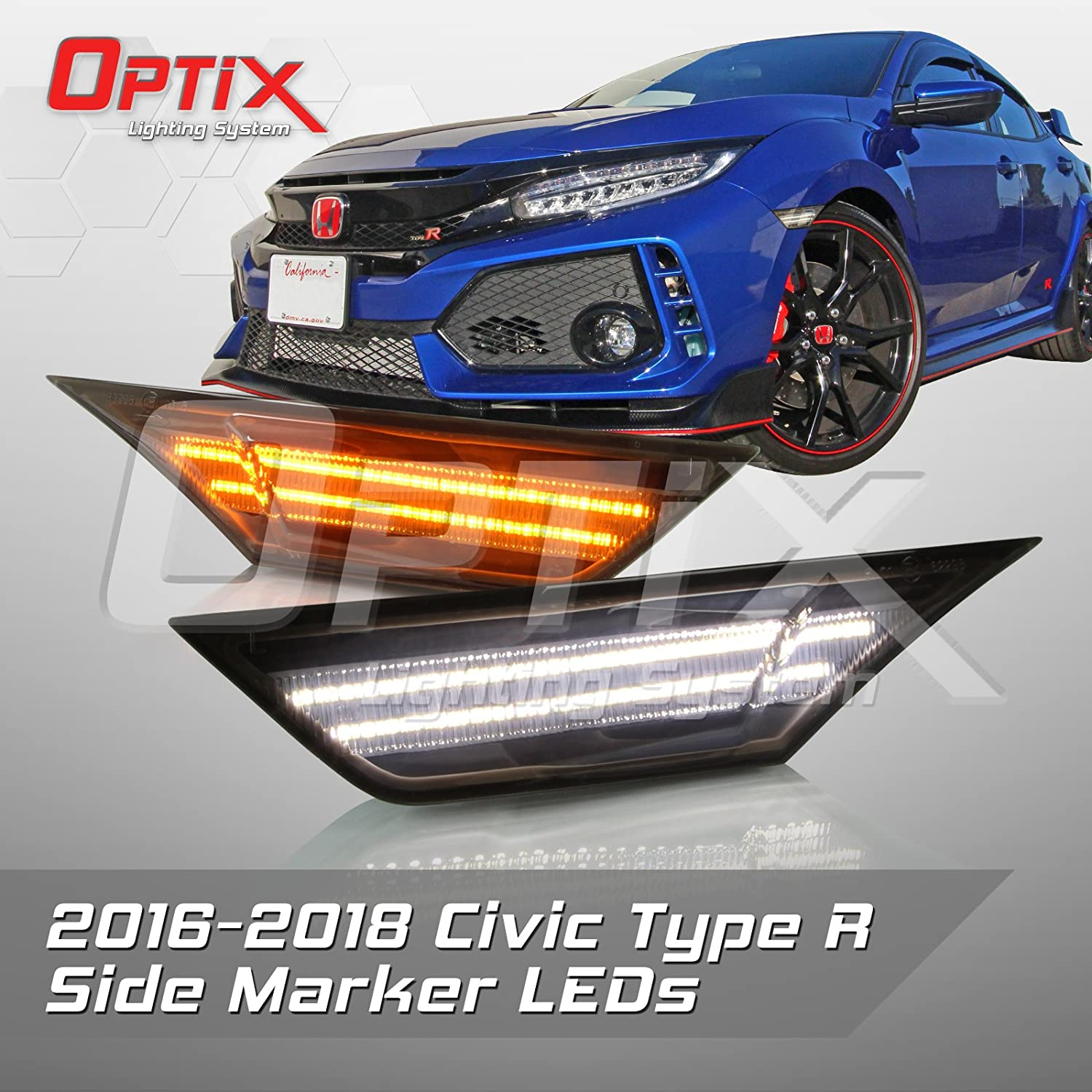 Optix 2016-2017 Honda Civic Type-R Smoked LED Front Side Marker Light - LED Turn Signal Housing Parking Light Replacement Lamp