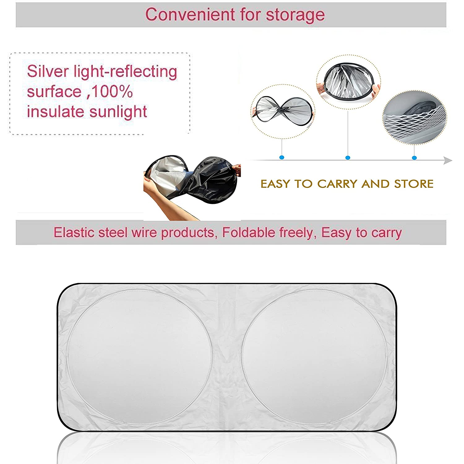 Easy to Use Keeps You Cool with a Pristine Interior Excellent UV Reflector Sojoy 2 Sided Car Sunshade /& Window Sun Shield