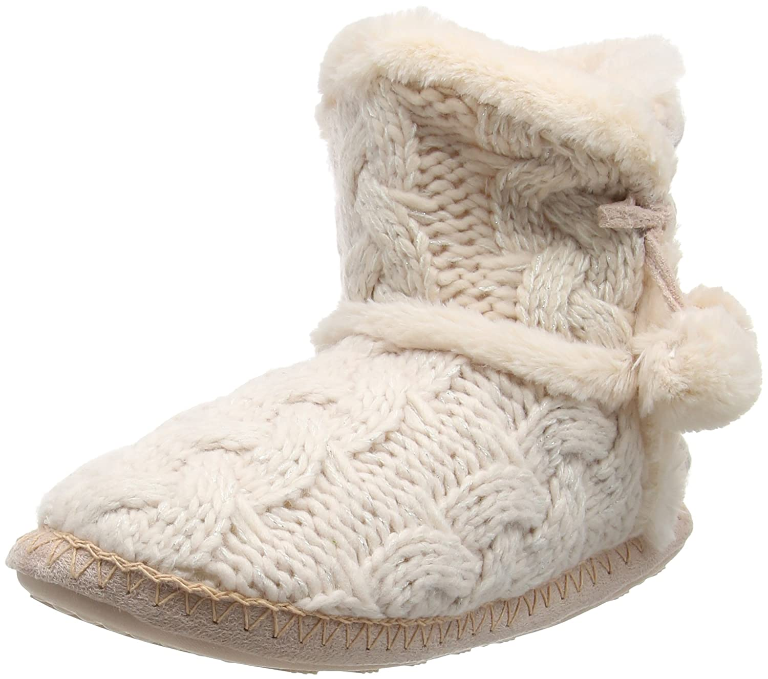 Totes Womens Ladies Cable Knit Boot Slipper Hi Top Pink S Uk 36