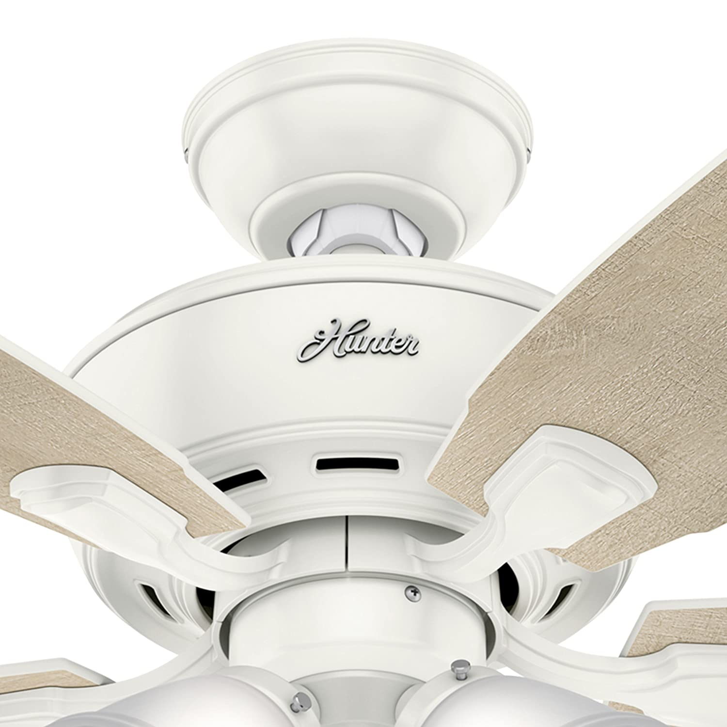 Hunter Fan 52 inch Brushed Nickel Ceiling Fan with Four Dimmable LED Lights Renewed Fresh White