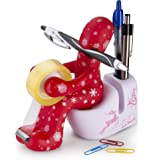 """Tech Tools """"The Butt"""" Office Supply Holder - Includes Paper Clip Storage, Tape Dispenser, Memo Pad Holder and Pen Holder - Great Organizational Tool - An Excellent Office Gift (Christmas Theme)"""