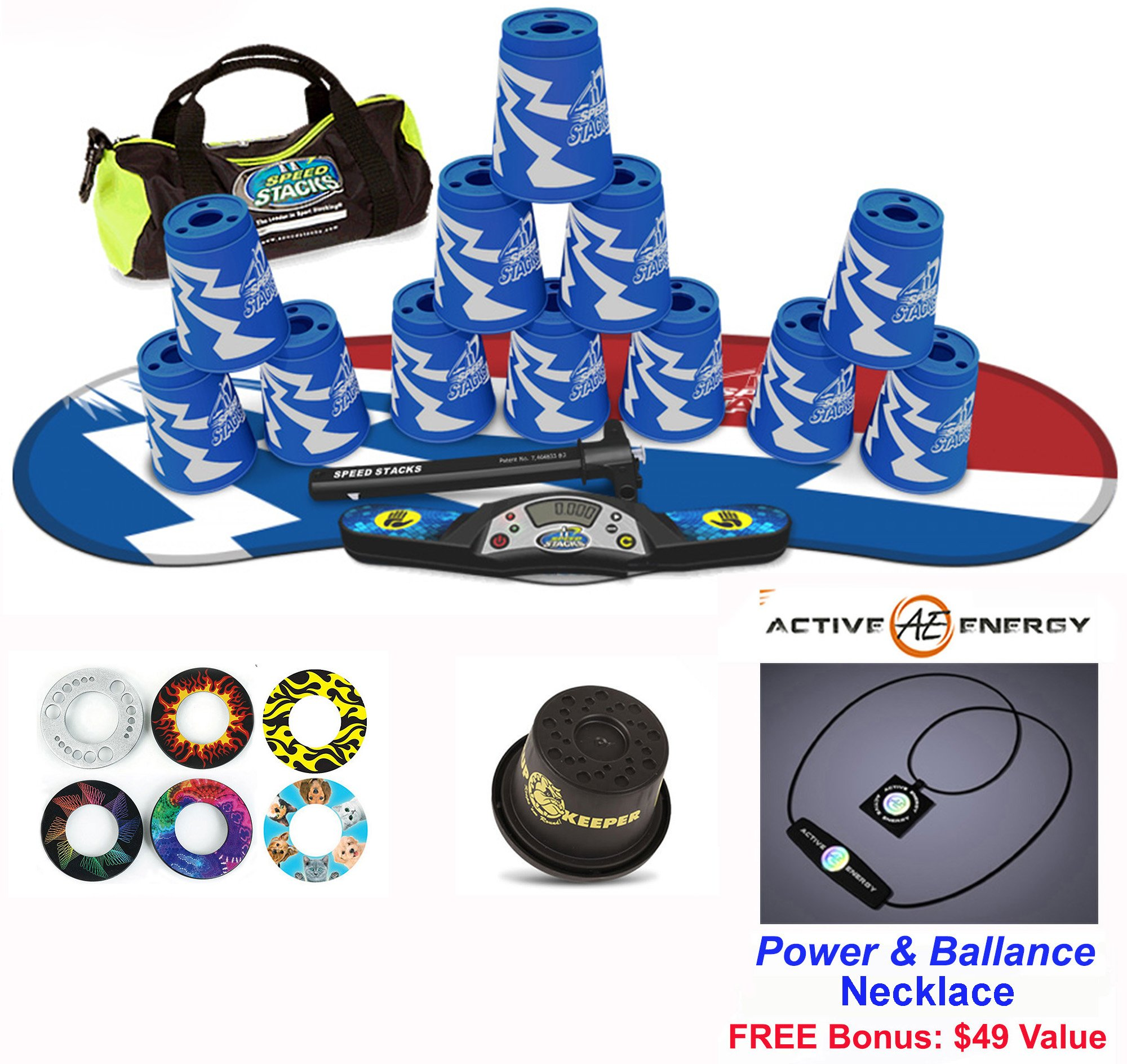 Speed Stacks The Works Combo Set: 12 Atomic Punch 4'' Cups & Gen 3 Mat, Cup Keeper, Stem, G4 Pro Timer, Gear Bag + Active Energy Necklace