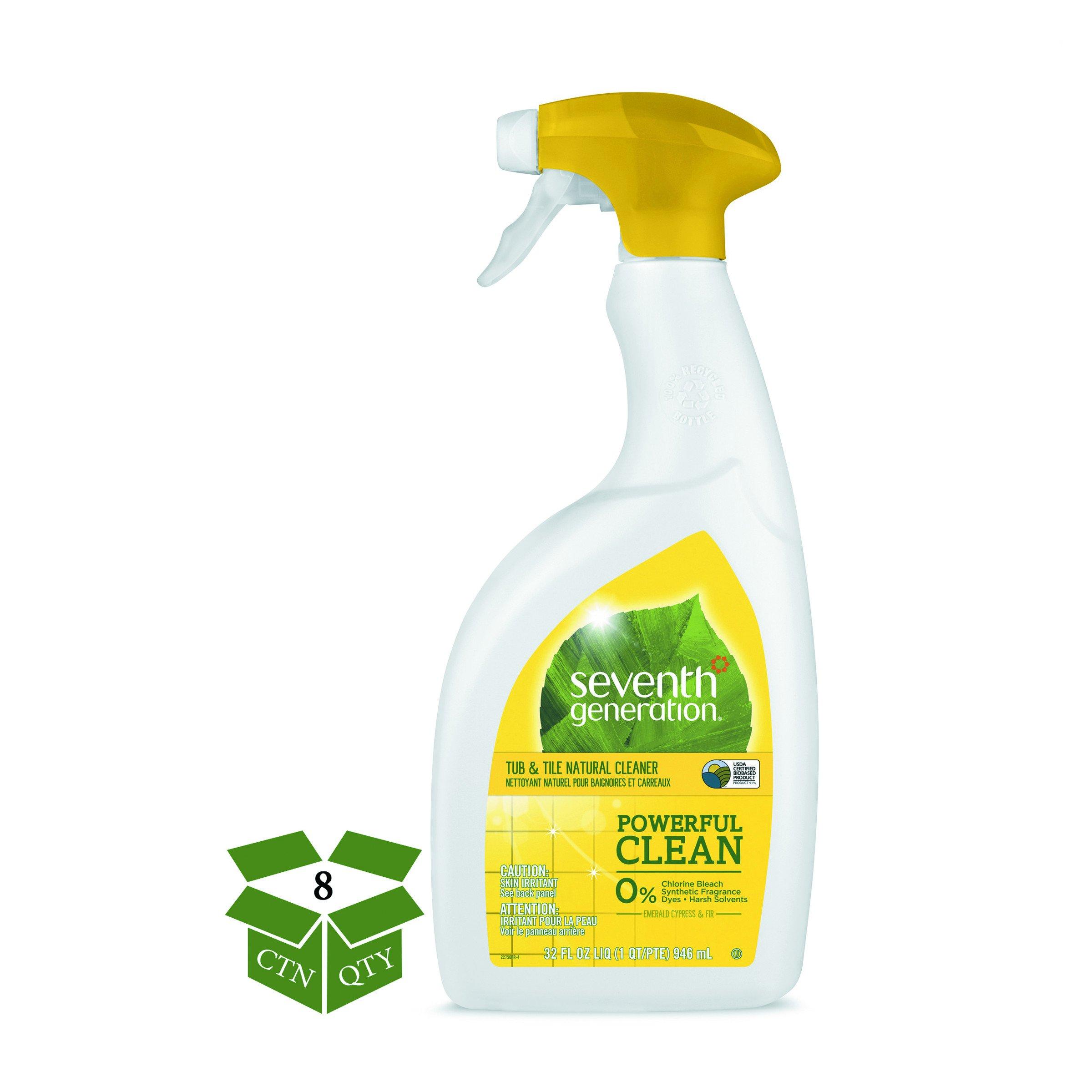 Seventh Generation 44728CT Natural Tub & Tile Cleaner, Emerald Cypress & Fir, 32 oz Spray Bottle (Case of 8)