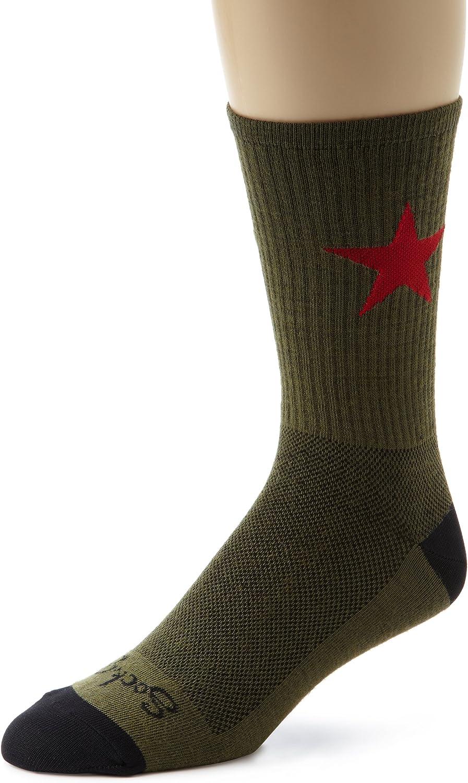 SockGuy Wool Crew 6in Red Star Cycling//Running Socks