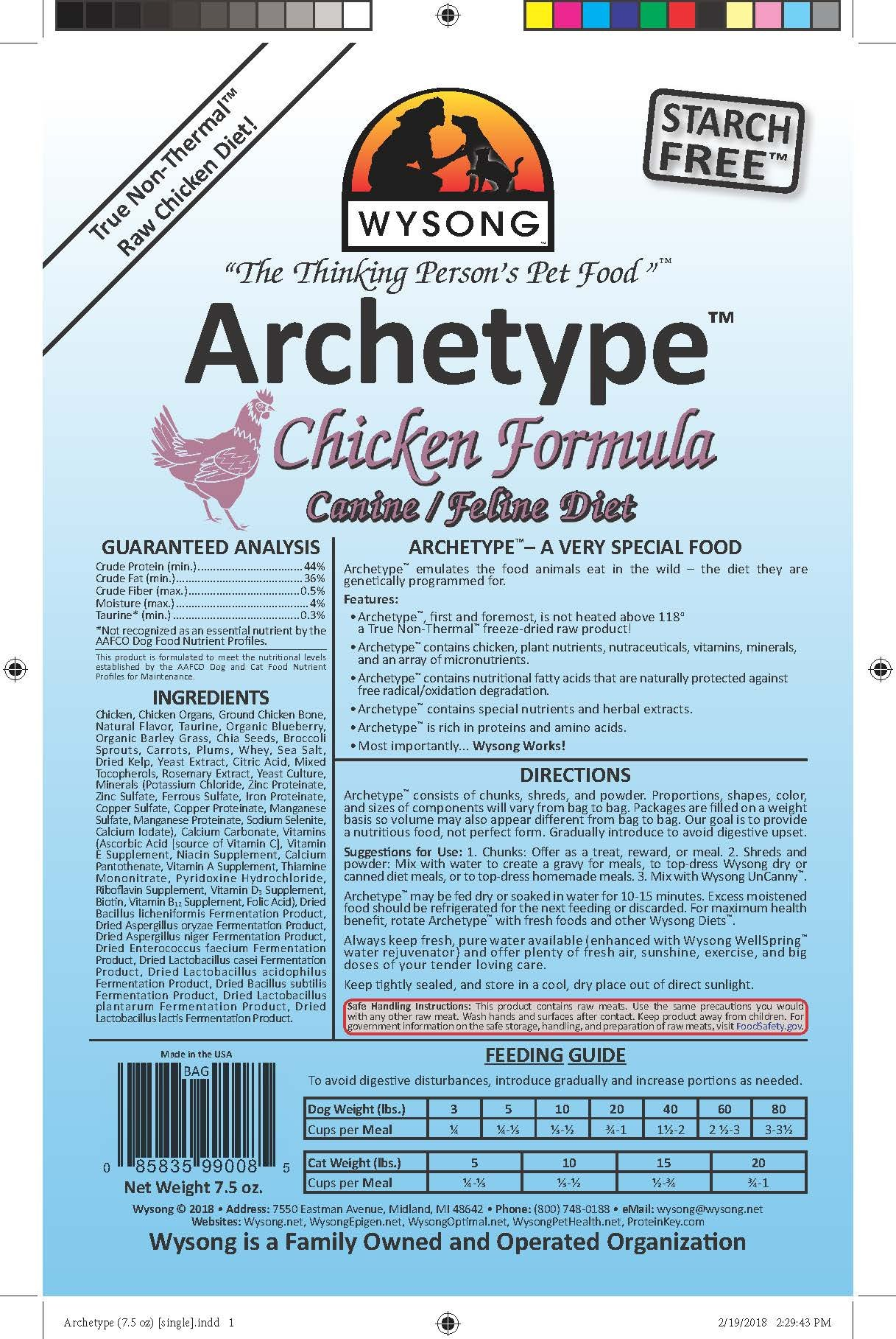 Wysong Archetype Chicken Raw Formula Canine/Feline Diet Dog/Cat Food - 7.5 Ounce Bag by Wysong