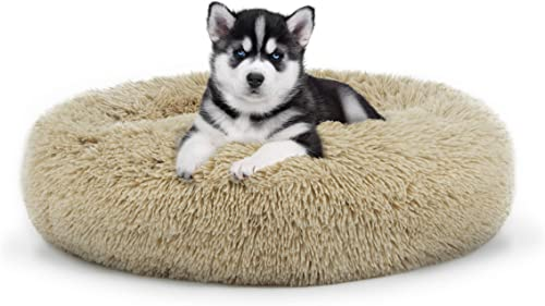 The Dog s Bed Sound Sleep Donut Dog Bed, Small Dog Biscuit Beige Plush Removable Cover Premium Calming Nest Bed