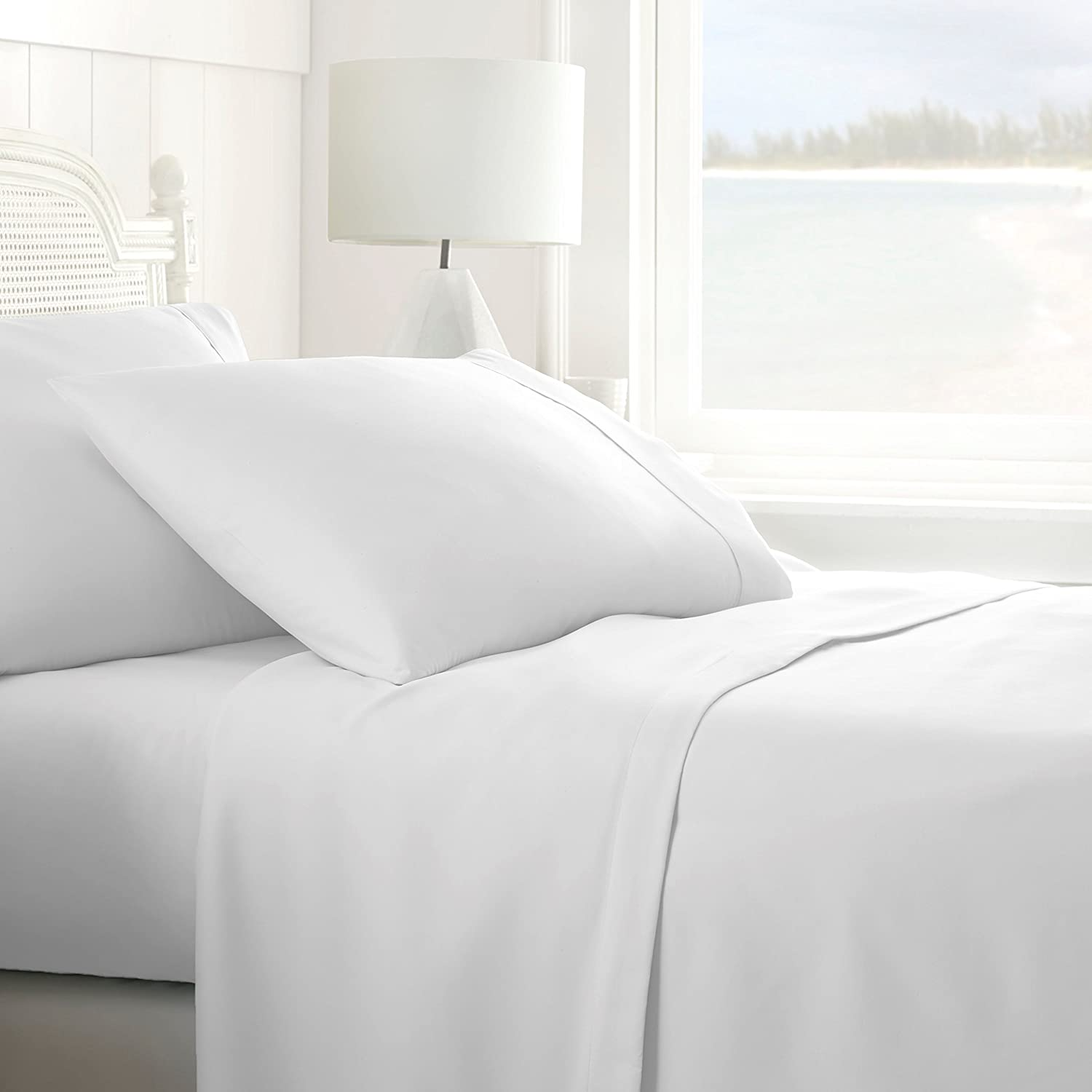 Home Collection IEH-4PC-QUEEN-WHITE 4 Piece Ultra Soft Sheet Set, Queen, White
