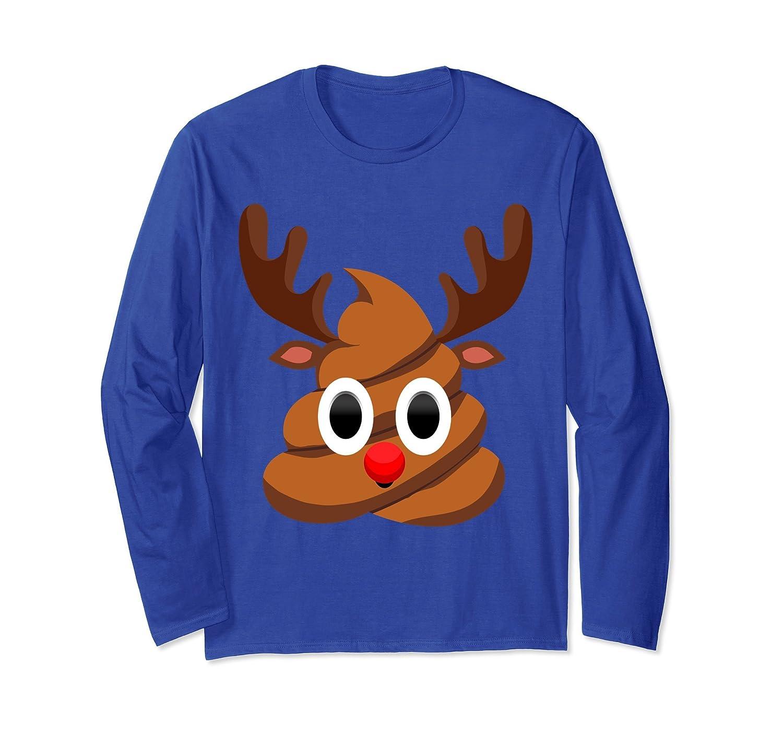 Christmas Red Nose Reindeer Poop Emojis Long Sleeve Shirt ...
