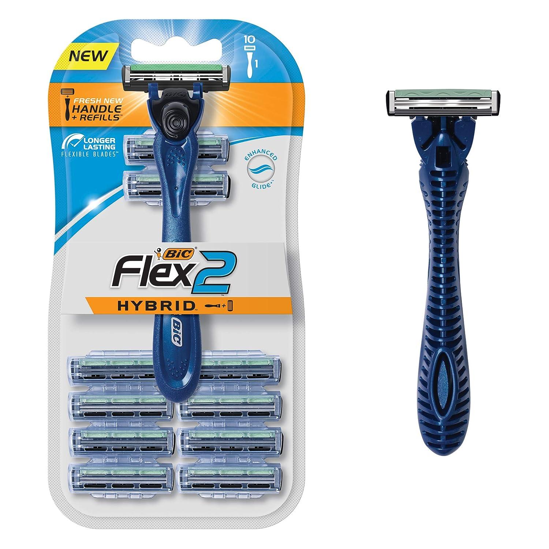 BIC Flex 2 Hybrid Men's Twin Blade Razor, One Handle 10 Cartridges, Set