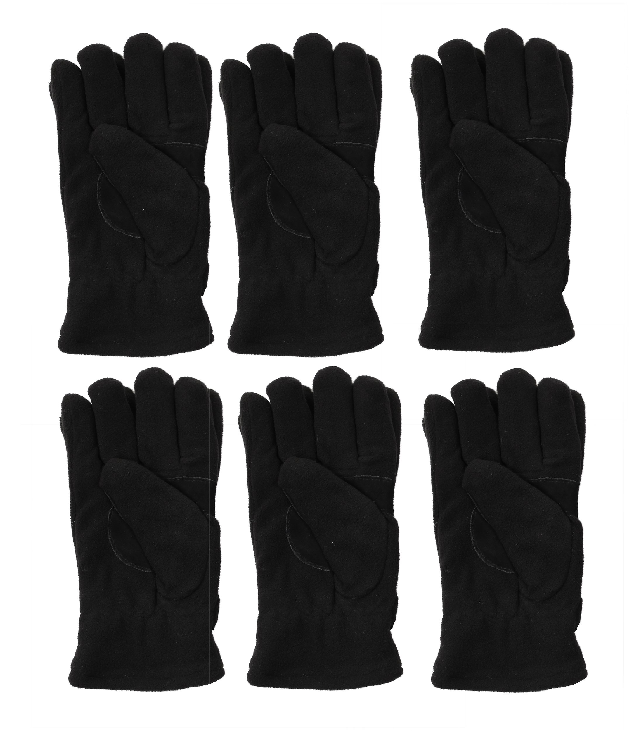 Fleece Glove Insulated with ThermalSport, 6 Pack, Women's Size, Adjustable Velcro Strap (Black)