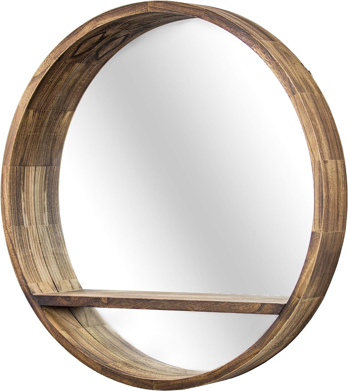 Amazon Com American Art Decor Round Wooden Wall Mirror With Storage Shelf Brown 28 Home Kitchen