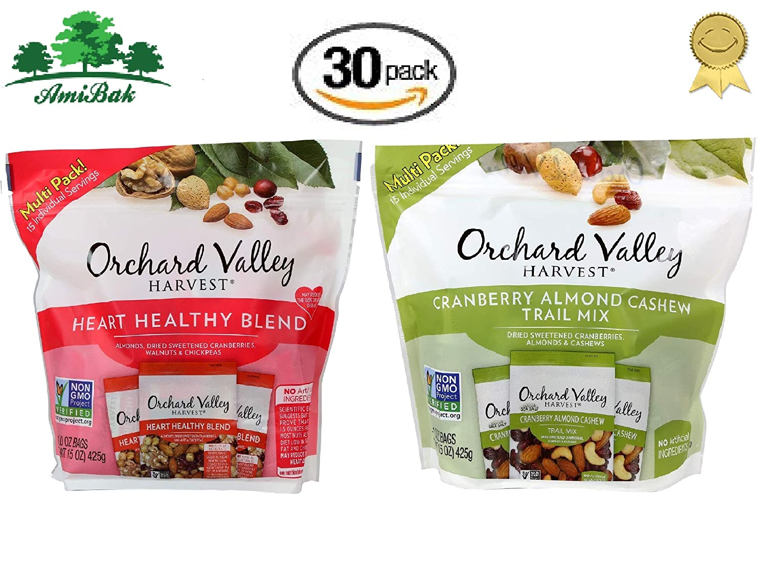Orchard Valley Harvest Snack Packs - Cranberry Almond Cashew Trail Mix 15 Ct - Heart Healthy Blend Multi Pack 15 Ct. Non-GMO Project Verified, No Artificial Ingredients (30 Individual Packs)