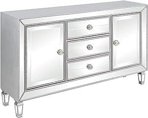 Coaster Home Furnishings 3-Drawer Accent Cabinet Rectangular/Silver/Modern, Metallic Platinum, 60