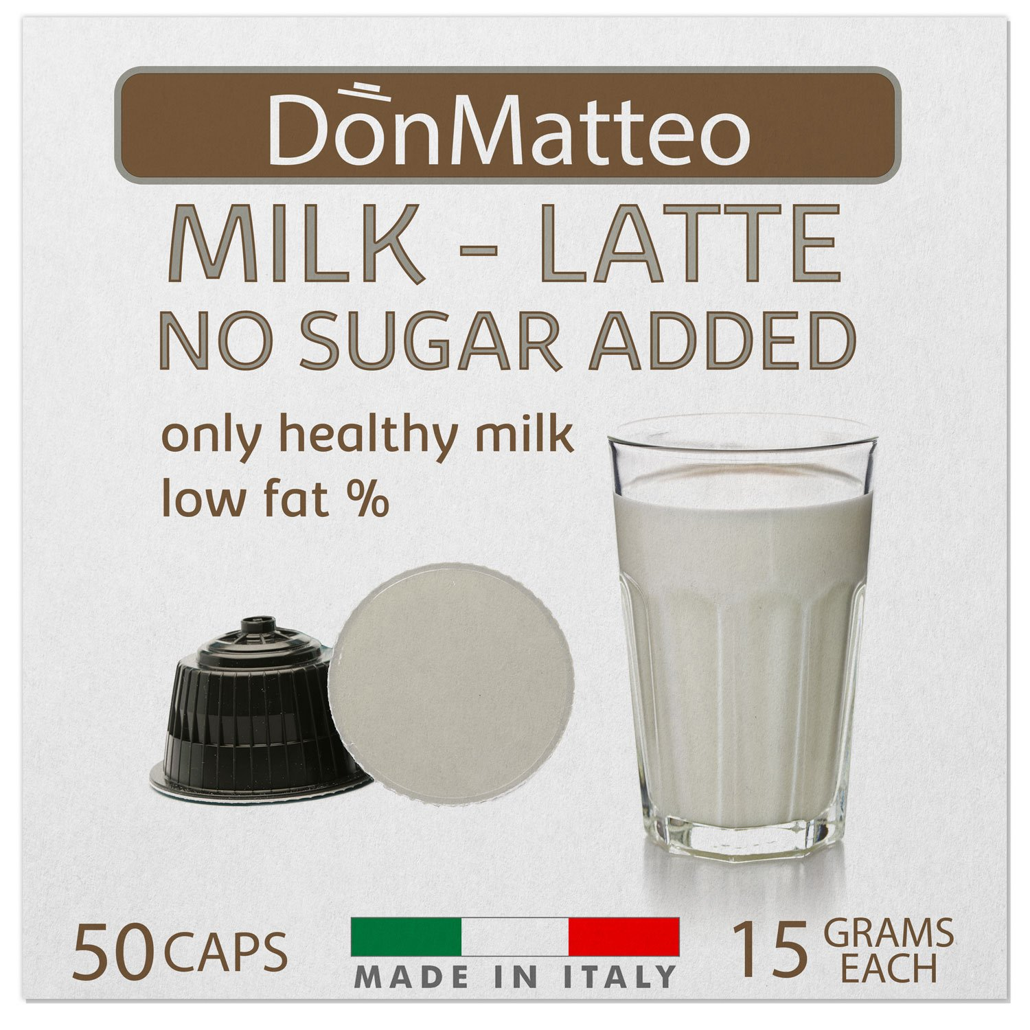 DonMatteo 50 Milk Latte Dolce Gusto Compatible Coffee Capsules (50 Pods 50 Servings)