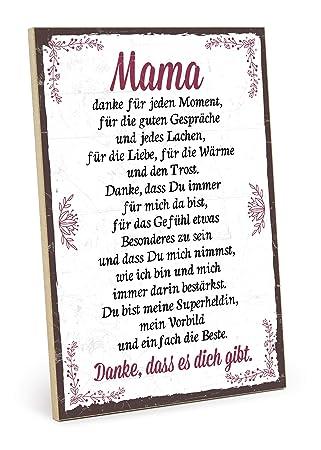Typestoff Holzschild Mit Spruch Danke Mama Im Vintage Look Mit Zitat Als Geschenk Und Dekoration Zum Thema Liebe Mutter Und Familie 19 5 X