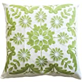 """Marguerite Embroidery Decorative Throw Pillow COVER 18"""" Green White"""