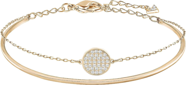 SWAROVSKI Women's Ginger Rose-gold Plated Bangle Bracelet, White Crystal