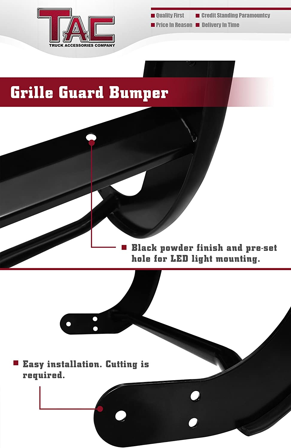Pickup Truck Black Front Bumper Brush Nudge Push Bull Bar TAC Grill Guard Compatible with 2005-2015 Toyota Tacoma Remove Skid Plate- If Equipped
