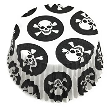 Muffin y cupcake Papel Moldes con calavera/Piratas Diseño en blanco y negro, 5 cm de diámetro, papel, negro-blanco, 100 unidades: Amazon.es: Hogar