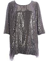 Marina Rinaldi Womens Fatato Sequin Mini Dress Grey