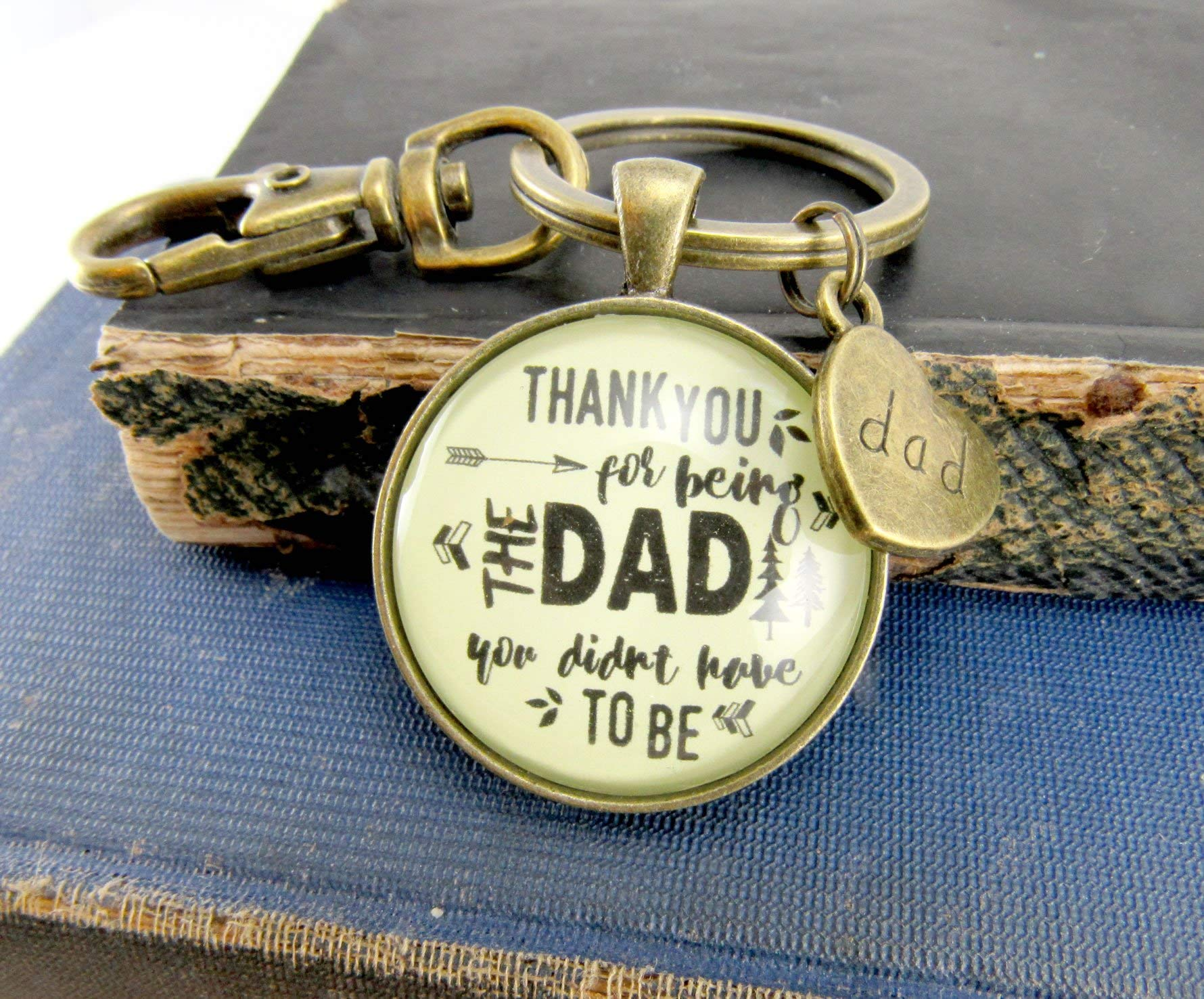 Thank You for Being the Dad You Didn't Have to Be Step Dad Father Bronze Keychain Wedding Day Gift Key Ring by Gutsy Goodness