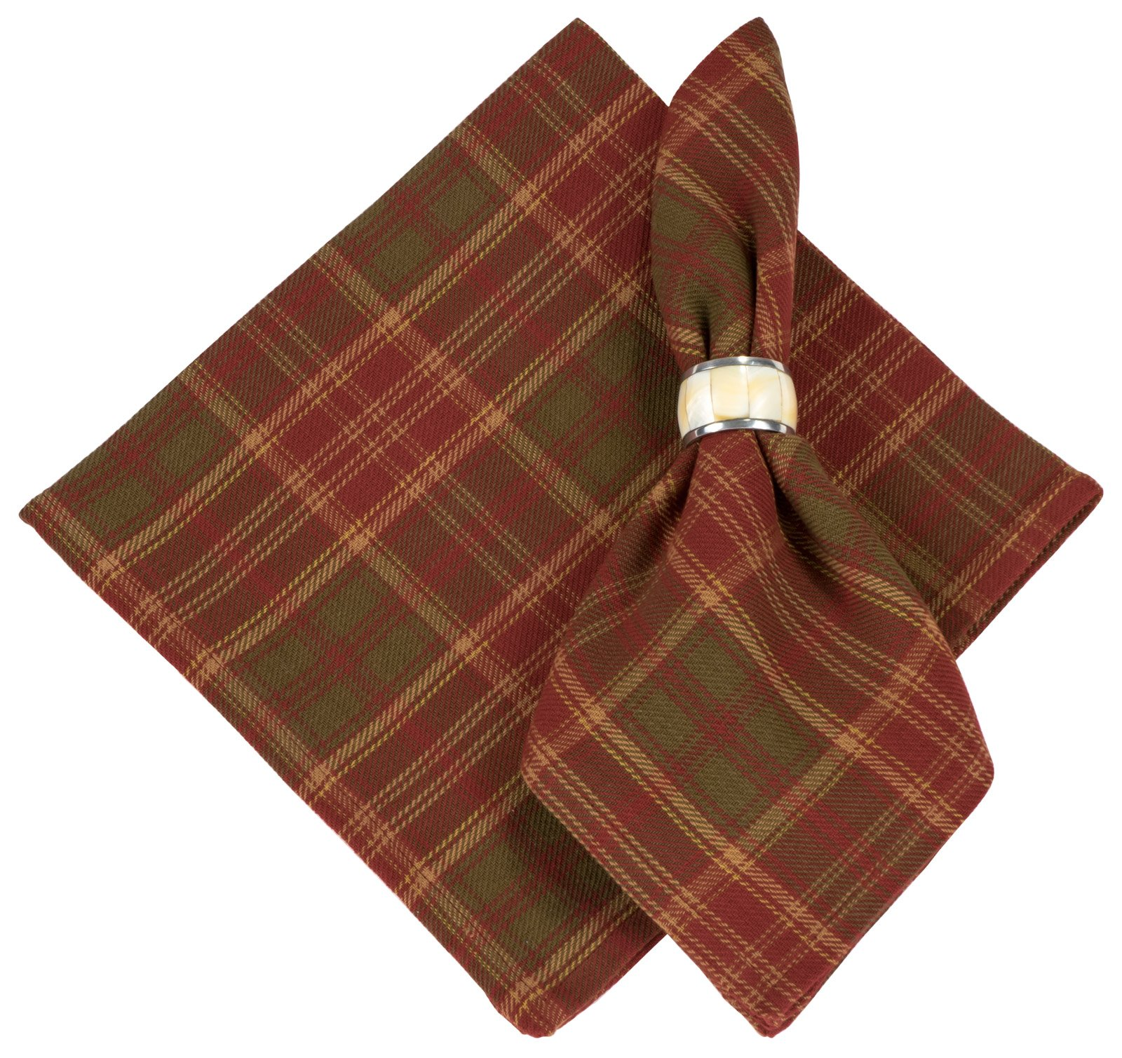 100% Cotton Red & Green Plaid 22''x22'' Napkin, Set of 6 - Pineberry