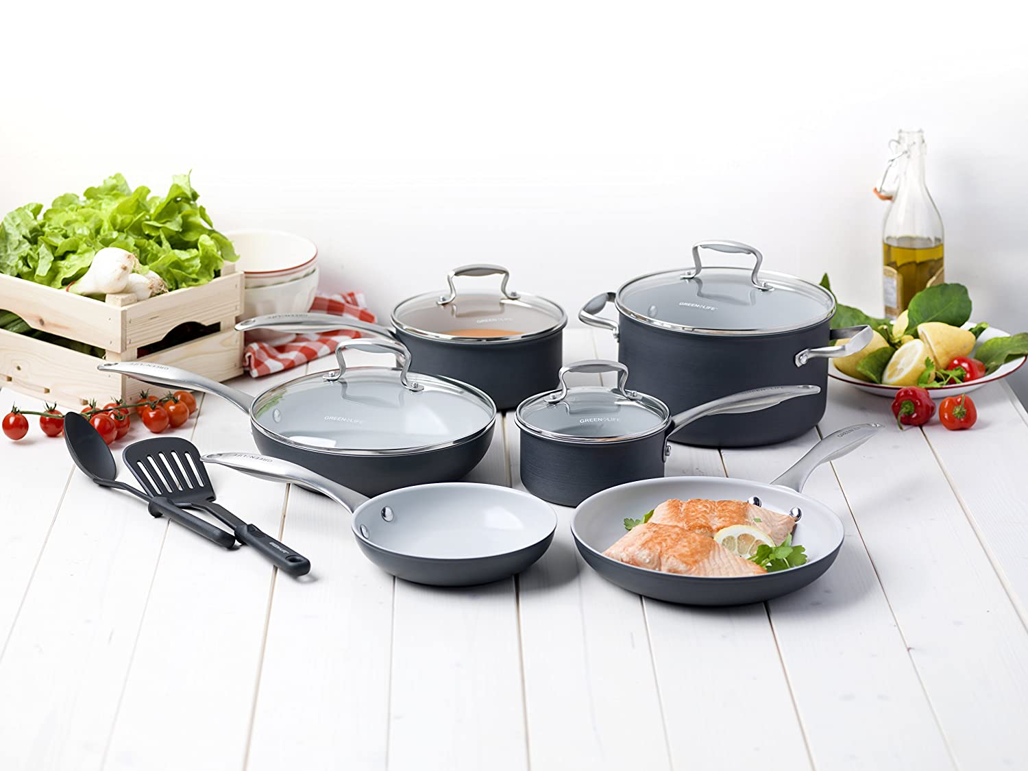 GreenLife 12 Piece Hard Anodized Non-Stick Ceramic Classic Cookware Set