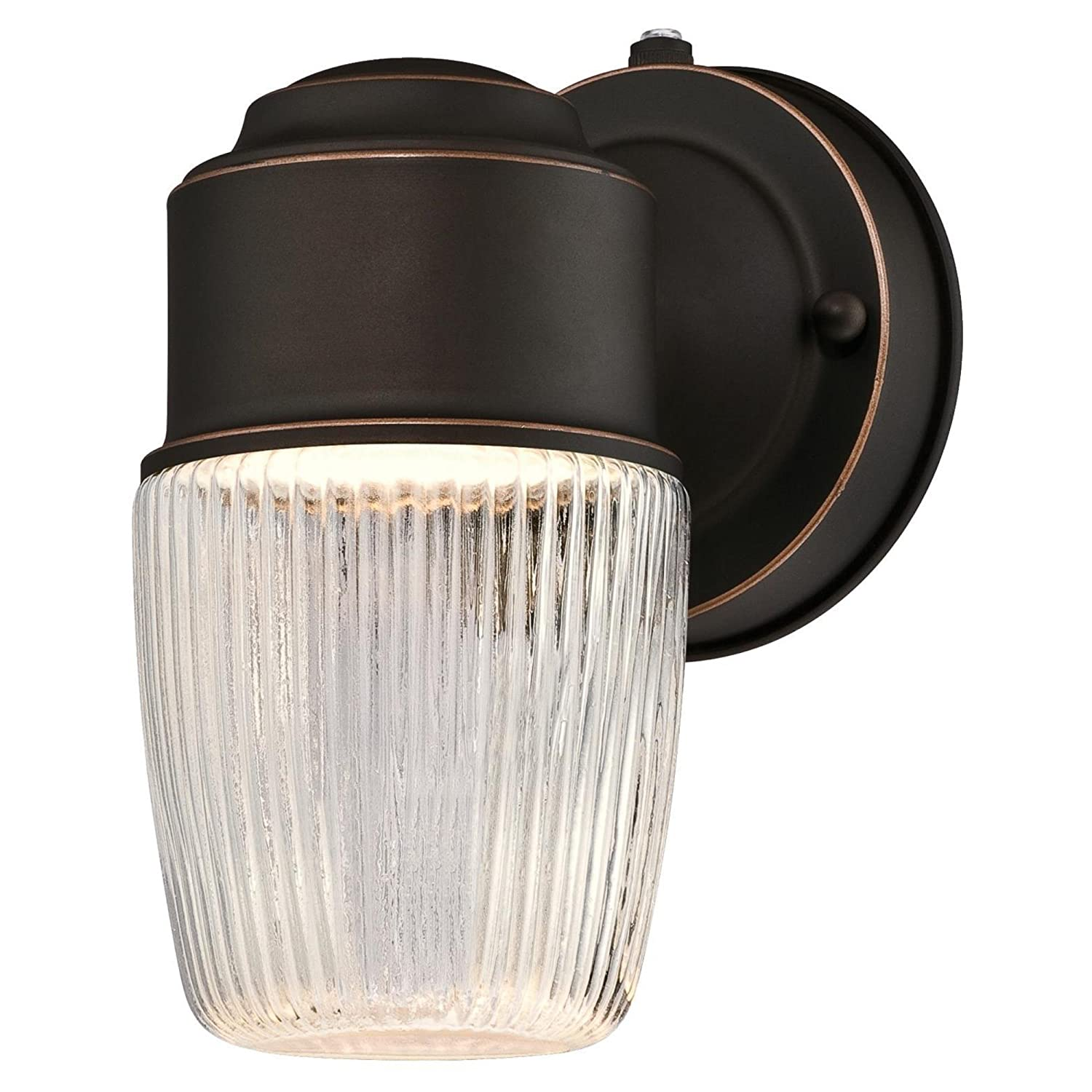 Westinghouse 6106900 One-Light LED Outdoor Wall Fixture with Dusk to Dawn Sensor, Oil Rubbed Bronze Finish with Clear Ribbed Glass